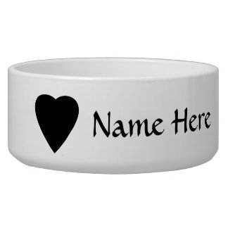 Black and White Love Heart Design. Pet Food Bowl