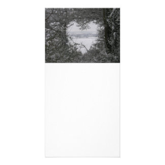 Black and White Love Snow Heart Photo Holiday Picture Card