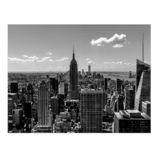 Black and White Manhattan Skyline Landscape Postcard