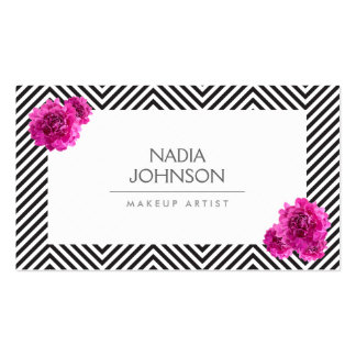 Black and White Pattern with Pink Flowers Beauty Pack Of Standard Business Cards