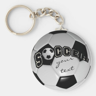 Black and White Personalize Soccer Ball Basic Round Button Key Ring