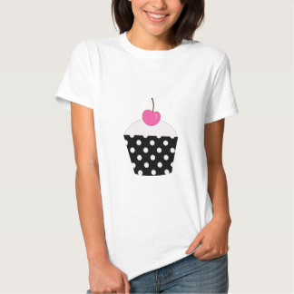 Black and White Polka Dot Cupcake With Pink Cherry Shirts