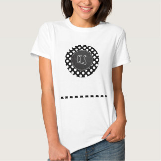Black and White Polka Dots; Chalkboard look Tee Shirt