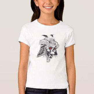 black and white samurai helmet with skull t-shirts