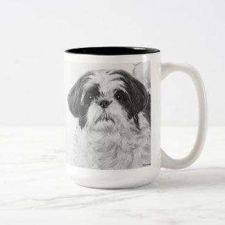 Black and White Shih Tzu Art Two-Tone Mug