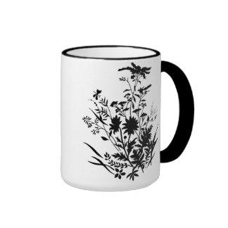 Black and White Silhouette Floral...mug Ringer Mug