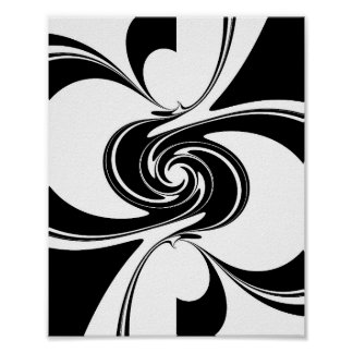 Black and White Spiral Poster