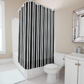 Black and white stripe custom shower curtain