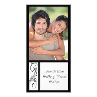 Black and White Swirls Wedding Save the Date Photo Greeting Card