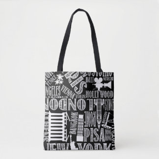 Black and White, Urban Cities Tote Bag