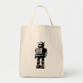 Black and White Vintage Robot Grocery Tote Bag