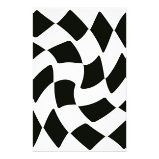 Black and White Warped Checkerboard Customised Stationery
