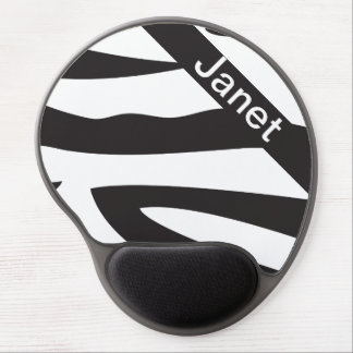 Black and White Zebra Animal Print | Personalize Gel Mouse Pad