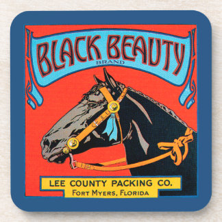 Black Beauty Horse on Red Background Coasters
