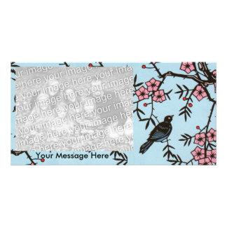 Black Bird Cherry Blossom Tree Picture Card
