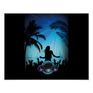 BLACK BLUE BEACH PARTY DANCING MUSIC PALM TREES FU POSTER