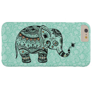 Black & Blue-Green Retro Floral & Elephant Barely There iPhone 6 Plus Case