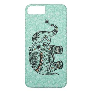 Black & Blue-Green Retro Floral & Elephant iPhone 7 Plus Case