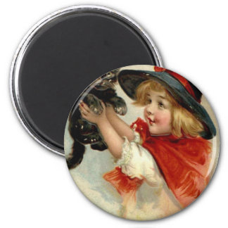 Black Cat at Halloween Vintage Greeting 6 Cm Round Magnet