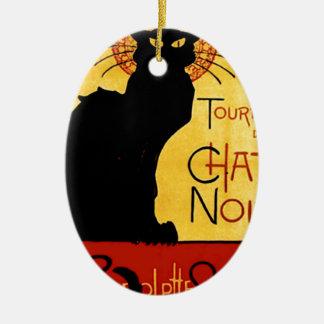 Black Cat Vintage Tournée du Chat Noir, Theophile Ceramic Oval Decoration