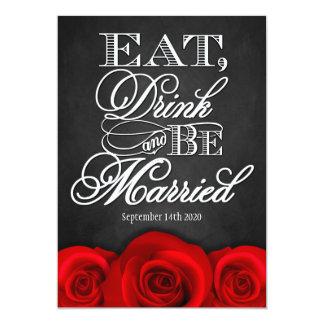 Black Chalkboard Red Rose Wedding Invitations