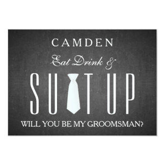 Black Chalkboard Suitup Will you be my groomsman 13 Cm X 18 Cm Invitation Card