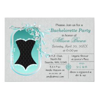 black corset elegant bachelorette party invite