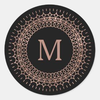 Black & Faux Rose Gold Medallion Monogram Round Sticker