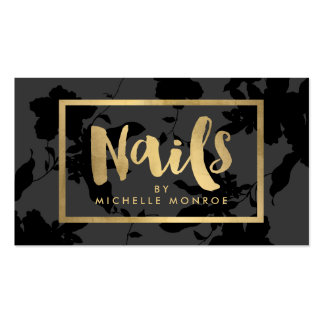 Black Floral Gold Text Nail Salon Pack Of Standard Business Cards