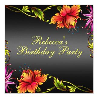 Black Flower Burst Design Birthday Invitation