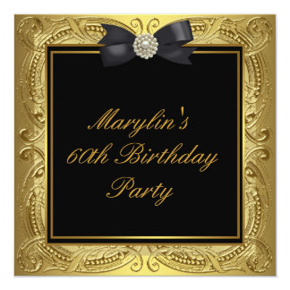 Black Gold Womans 60th Birthday Party 13 Cm X 13 Cm Square Invitation Card
