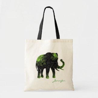 Black & Green Floral Elephant Budget Tote Bag