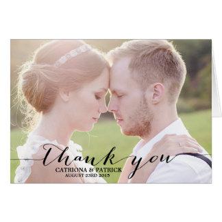 Black Handwritten Script Wedding Thank You Card