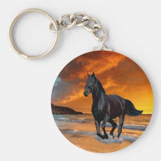 BLACK HORSE, BLACK STALLION, RUNNING AND FREE BASIC ROUND BUTTON KEY RING
