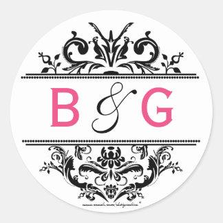 Black & Hot Pink Crest Envelope Seal Round Sticker
