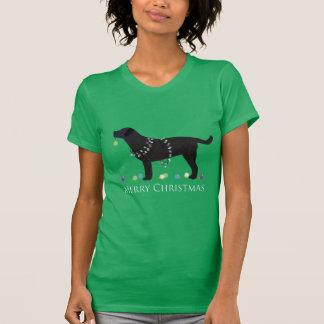 Black Lab Merry Christmas Design T-shirt