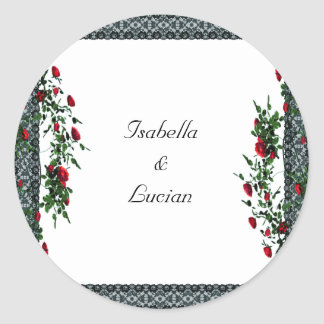 Black Lace and Roses Goth Wedding Round Sticker