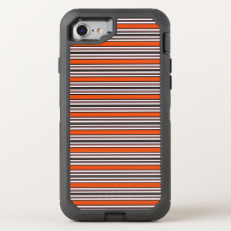 Black Orange and White Horizontal Stripes Pattern OtterBox Defender iPhone 7 Case
