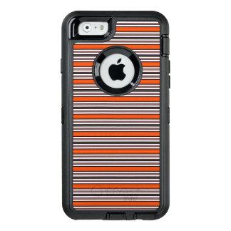 Black Orange and White Horizontal Stripes Pattern OtterBox iPhone 6/6s Case