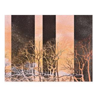Black orange stripe trees branches digital art postcard