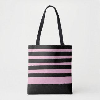 Black Pink Cool Modern Stripe Tote Bag