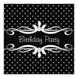 Black Polka Dot Womans Birthday Party 13 Cm X 13 Cm Square Invitation Card