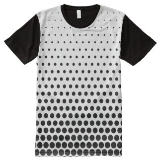 Black Polka Dots Modern White All-Over Print T-Shirt
