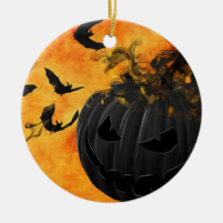 Black pumpkin and bats round ceramic decoration