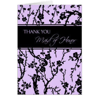 Black & Purple Floral Thank You Maid of Honor Card