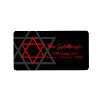 Black Red Star of David Return Address Address Label