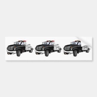 Black Silver Tow Truck Cartoon Bumper Sticker