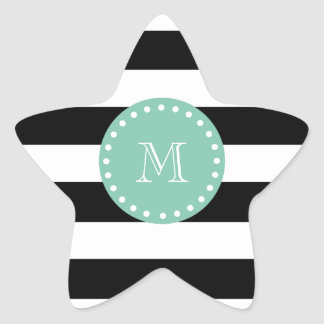 Black Stripes Pattern, Mint Green Monogram Star Sticker