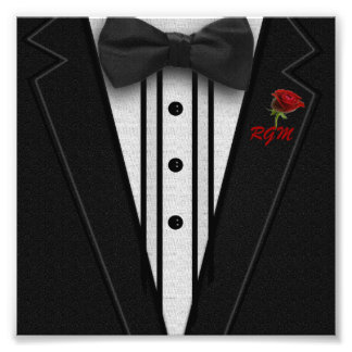 Black Suit Bow Tie and Rose Photo Print