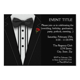 Black Tuxedo with Bow Tie Red Rose 13 Cm X 18 Cm Invitation Card